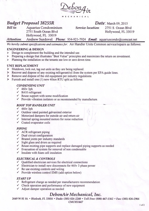 20150309_ DebonAir Air Handler repairs proposal 1