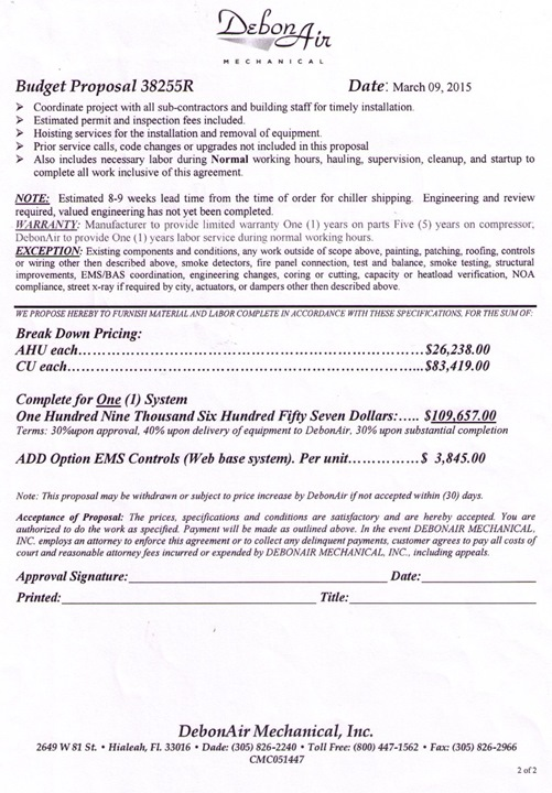 20150309_ DebonAir Air Handler repairs proposal 2