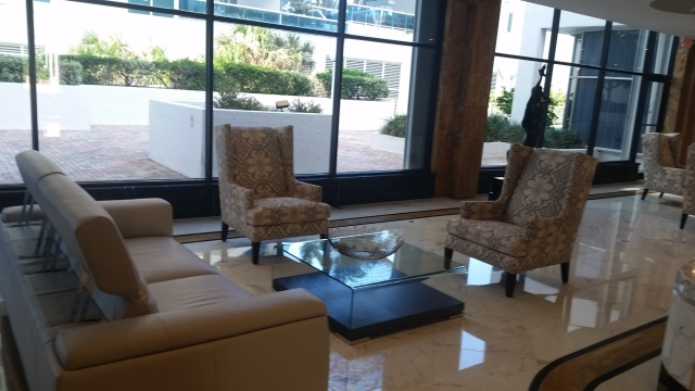 Partial view of the new sofas, chairs and basket in the Aquarius Lobby.