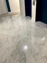 Personal elevators landing. Porcelain tiles floor